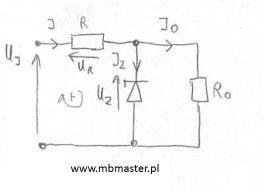Obwód elektroniczny z diodą Zenera
