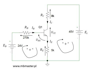 Obwód elektroniczny z tranzystorem npn - zadanie 1