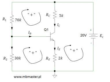 Obwód elektroniczny z tranzystorem npn - zadanie 2