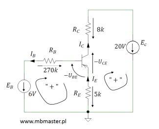 Obwód elektroniczny z tranzystorem pnp - zadanie 1