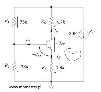 Obwód elektroniczny z tranzystorem pnp - zadanie 2