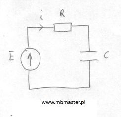 Obwody elektryczne - obliczanie chwilowego prądu w obwodzie podczas ładowania kondensatora.