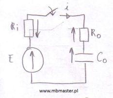 Obwody elektryczne - obliczanie napięcia na kondensatorze podczas ładowania kondensatora.