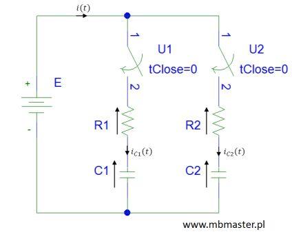 Obwody elektryczne - stan nieustalony w obwodzie z dwoma kondensatorami.
