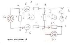 Obwody elektryczne - wyznaczanie prądów i napięć w obwodzie prądu stałego z zastosowaniem metody prądów oczkowych - zadanie 2.