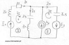 Obwody elektryczne - wyznaczanie prądów i napięć w obwodzie prądu zmiennego z zastosowaniem metody prądów oczkowych - zadanie 4.