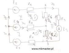 Obwody elektryczne - wyprowadzenie równań metody oczkowej na przykładzie obwodu prądu stałego.