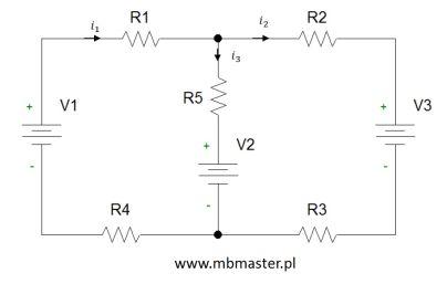 Obwody elektryczne - wyznaczanie prądów i napięć w obwodzie prądu stałego z zastosowaniem metody superpozycji - zadanie 2.