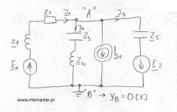 Obwody elektryczne - wyznaczanie prądów i napięć w obwodzie prądu zmiennego z zastosowaniem metody potencjałów węzłowych - zadanie 4.