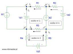 Obwody elektryczne - wyznaczanie prądów i napięć w obwodzie prądu stałego z zastosowaniem praw Kirchhoffa - zadanie 2.