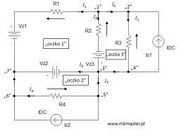 Obwody elektryczne - wyznaczanie prądów i napięć w obwodzie prądu stałego z zastosowaniem praw Kirchhoffa - zadanie 3.
