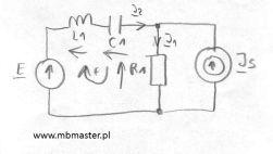 Obwody elektryczne - wyznaczanie prądów i napięć w obwodzie prądu zmiennego z zastosowaniem praw Kirchhoffa - zadanie 9.