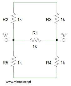 Obwody elektryczne - wyznaczanie rezystancji zastępczej zadanie 3.