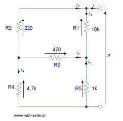 Obwody elektryczne - wyznaczanie rezystancji zastępczej zadanie 4.