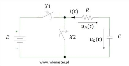 Stan nieustalony podczas ładowania kondensatora - obwód elektryczny