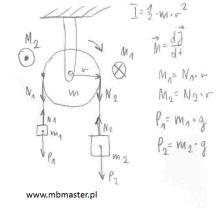 Mechanika dynamika - wyznaczanie przyśpieszenia układu połączonych ciężarków.