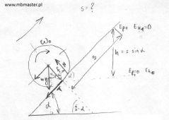 Mechanika dynamika - wyznaczanie drogi przebytej przez walec poruszający się ruchem płaskim.